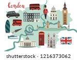 london illustrated map vector.... | Shutterstock .eps vector #1216373062