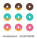 set of colored donuts in...   Shutterstock . vector #1216376638