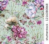 background of roses. seamless... | Shutterstock . vector #1216380868