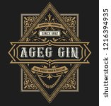gin label. vintage style | Shutterstock .eps vector #1216394935