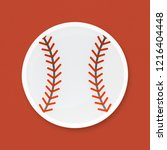 baseball with red seam icon | Shutterstock . vector #1216404448