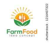 farm food concept logo design... | Shutterstock .eps vector #1216407322