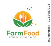 farm food concept logo design... | Shutterstock .eps vector #1216407325