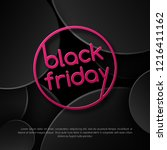 pink text black friday sale on... | Shutterstock .eps vector #1216411162