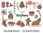christmas multicolored hand... | Shutterstock .eps vector #1216413262