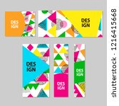 web banners set with colorful... | Shutterstock .eps vector #1216415668