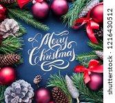 merry christmas hand lettering... | Shutterstock . vector #1216430512
