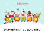 cheerful train christmas card...   Shutterstock .eps vector #1216435552