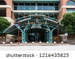 Small photo of HOUSTON, TX, USA - SEPTEMBER 10, 2018: Minute Maid Stadium, home to the MLB's Houston Astro's, was built in 2000 and has a capacity of 41,168 for their baseball games, events, festivals, and concerts.
