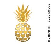 pineapple golden sign with... | Shutterstock .eps vector #1216439098