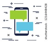 mobile phone with chat message...   Shutterstock .eps vector #1216448428
