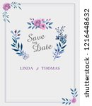 save the date invitation card.... | Shutterstock .eps vector #1216448632