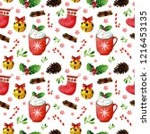christmas seamless pattern with ... | Shutterstock . vector #1216453135