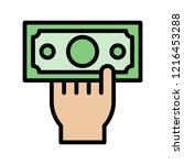 hand grab dollar bill money... | Shutterstock .eps vector #1216453288