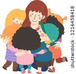 illustration of kids hugging... | Shutterstock .eps vector #1216458418