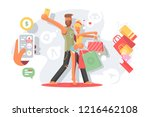 couple taking selfie with... | Shutterstock .eps vector #1216462108