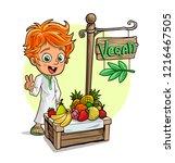 cartoon smiling redhead boy... | Shutterstock .eps vector #1216467505