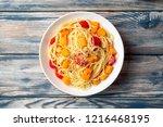 spaghetti pasta with pumpkin ...   Shutterstock . vector #1216468195
