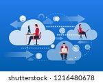 internet cloud planning and work   Shutterstock .eps vector #1216480678
