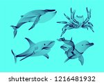 set marine graphic animals....   Shutterstock .eps vector #1216481932