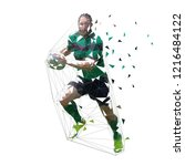 rugby player running with ball  ... | Shutterstock .eps vector #1216484122