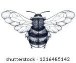 bee tattoo. dotwork tattoo.... | Shutterstock .eps vector #1216485142