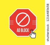 ad block or red stop sign icon | Shutterstock .eps vector #1216485658
