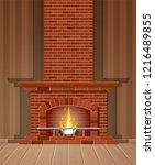 winter interior bonfire.... | Shutterstock .eps vector #1216489855