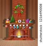 red brick classic fireplace...   Shutterstock .eps vector #1216490008