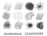 hand drawn lines on isolated... | Shutterstock .eps vector #1216492495
