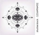 geometric mandala with hand... | Shutterstock .eps vector #1216496452