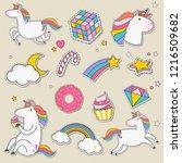 set of unicorn stickers vector | Shutterstock .eps vector #1216509682