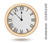 golden clock  isolated on white ... | Shutterstock .eps vector #1216512145