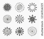 set of vector illustration sun. ... | Shutterstock .eps vector #1216516225