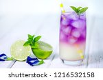 butterfly pea flower drink with ... | Shutterstock . vector #1216532158
