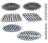 vector set of cover the drain | Shutterstock .eps vector #1216533202