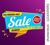 sale banner blue design on... | Shutterstock .eps vector #1216535092