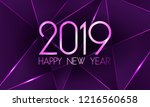 violet 2019 happy new year card ... | Shutterstock .eps vector #1216560658