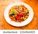somtum  thai food esan food. | Shutterstock . vector #1216561825