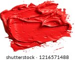 textured red oil paint brush... | Shutterstock .eps vector #1216571488