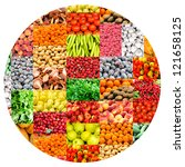 bunch of vegetables and fruits | Shutterstock . vector #121658125