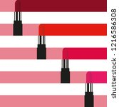 four lipsticks paint color... | Shutterstock .eps vector #1216586308