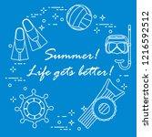 steering wheel  mask  snorkel ... | Shutterstock .eps vector #1216592512