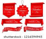 valentines red banner set....   Shutterstock .eps vector #1216594945