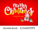 happy new year and merry... | Shutterstock .eps vector #1216605595