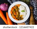 curry beef with rice | Shutterstock . vector #1216607422