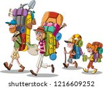 cartoon family with big... | Shutterstock .eps vector #1216609252