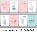 set of baby shower invitations... | Shutterstock .eps vector #1216624342