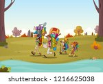 cartoon family having picnic in ... | Shutterstock .eps vector #1216625038
