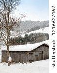 winter in schwarzwald.wooden...   Shutterstock . vector #1216627462